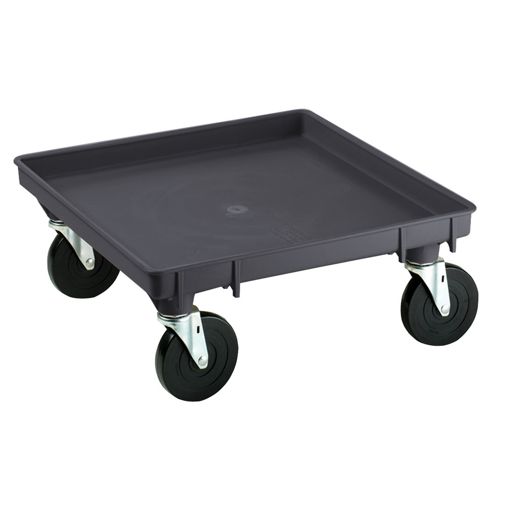 "Vollrath 1697-06 Traex Recycled Black Rack Dolly Base (No Handle) - 21"" x 21"""