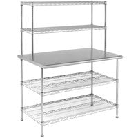 Eagle Group T3060EBW-2 30 inch x 60 inch Stainless Steel Table with 2 Chrome Wire Undershelves and 2 Chrome Wire Overshelves