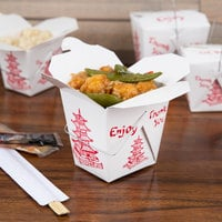 Fold-Pak 16WHPAGODM 16 oz. Pagoda Chinese / Asian Paper Take-Out Container with Wire Handle - 500/Case
