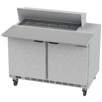 Beverage-Air SPE48HC-10C 48 inch 2 Door Cutting Top Refrigerated Sandwich Prep Table with 17 inch Wide Cutting Board