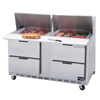 Beverage-Air SPED60HC-12M-4 60 inch 4 Drawer Mega Top Refrigerated Sandwich Prep Table