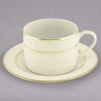 10 Strawberry Street CGLD0009 6 oz. Cream Double Gold Line Porcelain Can Cup with Saucer - 24/Case