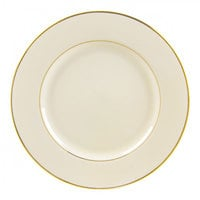 10 Strawberry Street CGLD0024 12 1/4 inch Cream Double Gold Line Porcelain Charger Plate - 12/Case