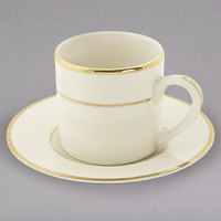 10 Strawberry Street CGLD0428 3 oz. Cream Double Gold Line Porcelain Espresso Can Cup with Saucer - 24/Case