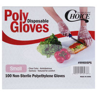 Choice Small Disposable Food Service Poly Gloves - 1000/Box