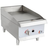 Cooking Performance Group G15 15 inch Gas Countertop Griddle with Manual Controls - 30,000 BTU