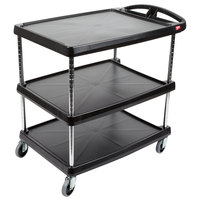 Metro myCart MY2030-34BL Black Utility Cart with Three Shelves and Chrome Posts - 24 inch x 34 inch