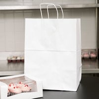 Duro Regal White Paper Shopping Bag with Handles 12 inch x 9 inch x 16 inch - 200/Bundle