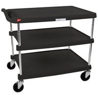 Metro myCart MY2636-35BL Black Utility Cart with Three Shelves and Chrome Posts - 28 inch x 40 inch