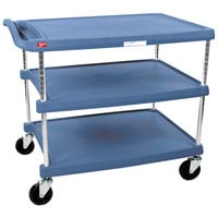 Metro myCart MY2636-35BU Blue Antimicrobial Utility Cart with Three Shelves and Chrome Posts - 28 inch x 40 inch