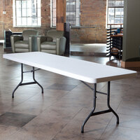 Lifetime Folding Table, 30 inch x 96 inch Plastic, White Granite - 2980