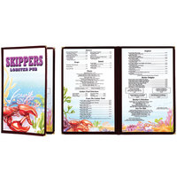 8 1/2 inch x 11 inch Menu Paper - Seafood Themed Ocean Design Cover - 100/Pack