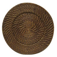 The Jay Companies 1660410P 13 inch Round Chestnut Rattan Charger Plate