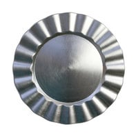 The Jay Companies 1183058 13 inch Round Silver Ruffled Rim Plastic Charger Plate