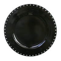 The Jay Companies A467BK 13 inch Round Black Jeweled Rim Plastic Charger Plate