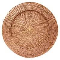 The Jay Companies 166414 13 inch Round Amber Rattan Charger Plate