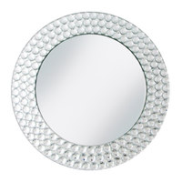 The Jay Companies 1330039 13 inch Round Dot Glass Mirror Charger Plate