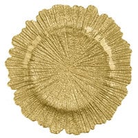 The Jay Companies 1470110 13 inch Round Reef Gold Glass Charger Plate