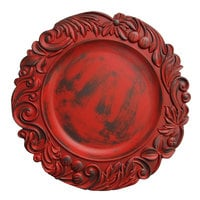 The Jay Companies 1320272 14 inch Round Red Oak Aristocrat Plastic Charger Plate