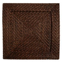 The Jay Companies 1660147 13 inch x 13 inch Square Brick Brown Rattan Charger Plate