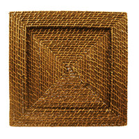 The Jay Companies 166415 13 inch x 13 inch Square Honey Rattan Charger Plate
