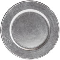 The Jay Companies 1180006AP-F 13 inch Round Silver Beaded Plastic Charger Plate