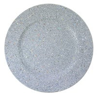 The Jay Companies 1180019 13 inch Round Silver Glitter Plastic Charger Plate