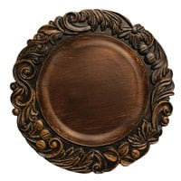 The Jay Companies 1320274 14 inch Round Dark Oak Aristocrat Plastic Charger Plate