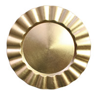 The Jay Companies 1183057 13 inch Round Gold Ruffled Rim Plastic Charger Plate