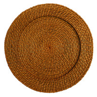 The Jay Companies 1660150 13 inch Round Honey Rattan Charger Plate