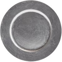 The Jay Companies 1421918BK-F 13 inch Round Silver Plastic Charger Plate