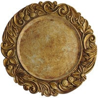 The Jay Companies 1320377 14 inch Round Gold Aristocrat Plastic Charger Plate