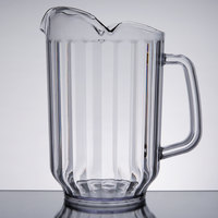 Choice 60 oz. Clear SAN Plastic Beverage Pitcher with 3 Spouts