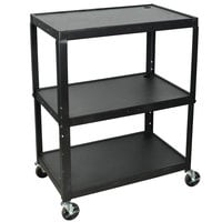 Luxor AVJ42XL Adjustable Height Black 3 Shelf A/V Cart
