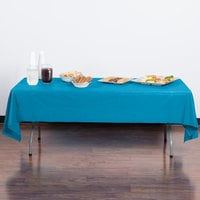 Creative Converting 723131 54 inch x 108 inch Turquoise Blue Plastic Table Cover - 12/Case