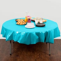 Creative Converting 703552 82 inch Bermuda Blue OctyRound Plastic Table Cover - 12/Case