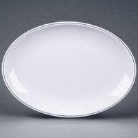 Elite Global Solutions D2209L Viva 9 inch x 6 1/4 inch White Oval Plate with Black Trim - 6/Case