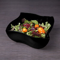 Elite Global Solutions M105B Wave Black 5.6 Qt. Square Melamine Bowl