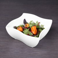 Elite Global Solutions M854NW Wave Display White 3 Qt. Square Melamine Bowl