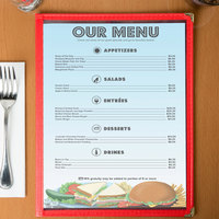 8 1/2 inch x 11 inch Menu Paper - Coffee Shop Themed Table Setting Design Middle Insert - 100/Pack