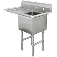 Advance Tabco FC-1-1620-18 One Compartment Stainless Steel Commercial Sink with One Drainboard - 36 1/2 inch - Right Drainboard