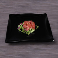 Elite Global Solutions M108WB Ming 10 1/2 inch x 9 inch Black Rectangular Wave Platter