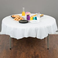 Creative Converting 703272 82 inch White OctyRound Disposable Plastic Table Cover - 12/Case