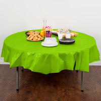 Creative Converting 703123 82 inch Fresh Lime Green OctyRound Disposable Plastic Table Cover - 12/Case