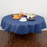 Creative Converting 703278 82 inch Navy Blue OctyRound Disposable Plastic Table Cover - 12/Case