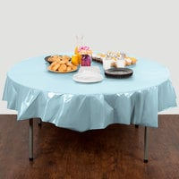 Creative Converting 703882 82 inch Pastel Blue OctyRound Plastic Table Cover - 12/Case
