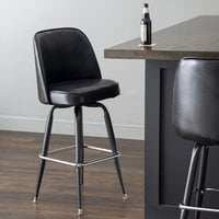 Lancaster Table & Seating Deluxe Black Barstool with 19 inch Wide Bucket Seat