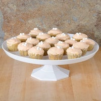 Fineline Platter Pleasers 3601-WH 11 3/4 inch Two-Piece White Cake Stand - 12/Case