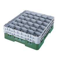 Cambro 30S638119 Camrack Green Customizable 30 Compartment 6 7/8 inch Glass Rack