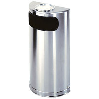 Rubbermaid FGSO8SUSSSPL Metallic Half Round Satin Stainless Steel Waste Receptacle with Rigid Plastic Liner and Sand Urn Cap Ash Tray 9 Gallon